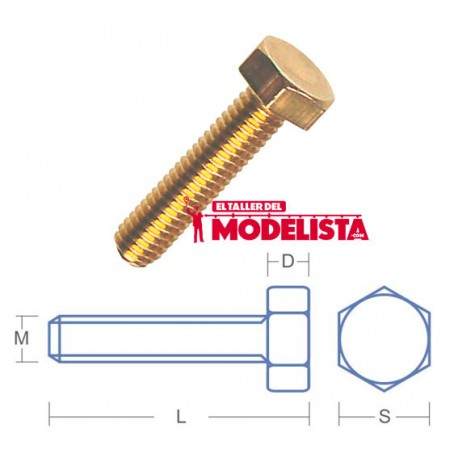 Tornillo de latón hexagonal. M2,0 x 3 mm (x20). RB 120-03