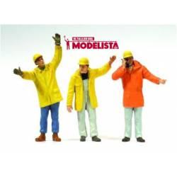 Tres obreros trabajando. PREISER 63095