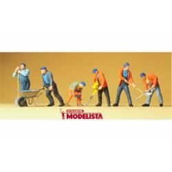 Figuras: Seis obreros trabajando. PREISER 65336