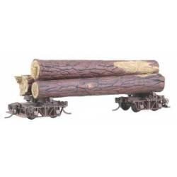 Vagón americano para transporte de troncos.