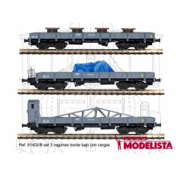 3-set wagons series MM, RENFE. With loads.