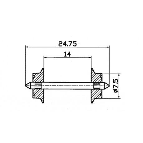 Juego de ruedas para AC. 7,5 mm. ROCO 40184