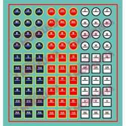 Transport indicators in circular and square.