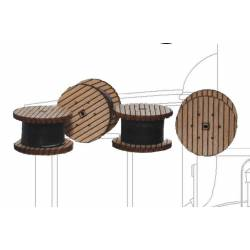 Set of four wooden reels.