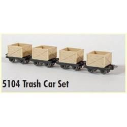 Cuatro vagonetas mineras para residuos.