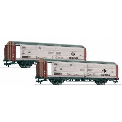 2-set sliding wall boxcars Degussa, DB.