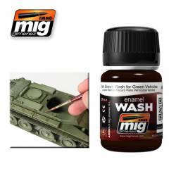 Enamel Wash: Dark Brown for Green Vehicles. 35 ml. AMIG 1005