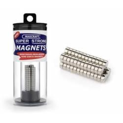 Imanes circulares. 6,4 x 2,5 mm (x50). MAGCRAFT NSN0601