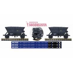 Dos tolvas de carbón T2, RENFE.