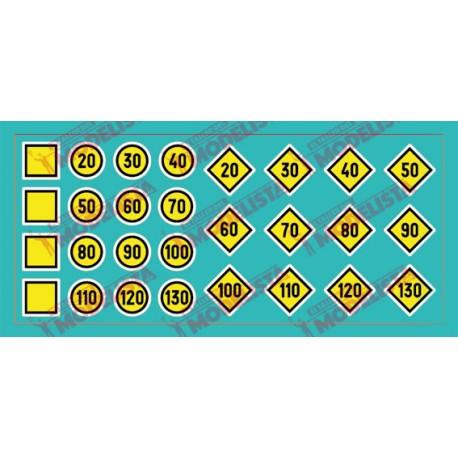 Train signs: Temporal speed limitation. ETM 9016