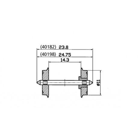Set de ejes CC, 11 mm (x2). ROCO 40198