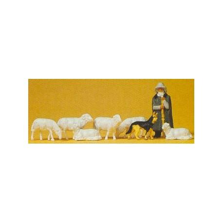 Pastor con perro y ovejas. PREISER 14160