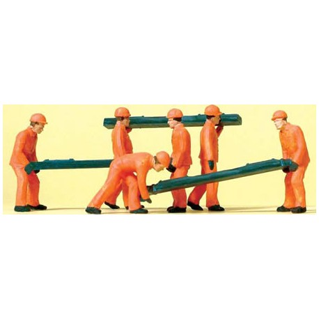 Obreros colocando traviesas de madera. PREISER 14036