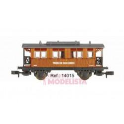 """Coche de madera """"Tren Socorro"""", RENFE."""
