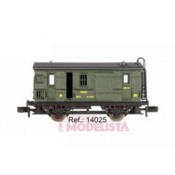 Wooden Correos car, RENFE. Green.