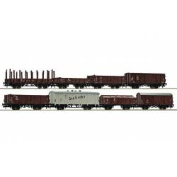 8-piece set of freight cars, DDR.