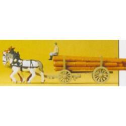 Carro de caballos con troncos de madera. PREISER 79477