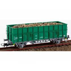 """Vagón abierto tipo """"X3"""" verde con carga, RENFE."""