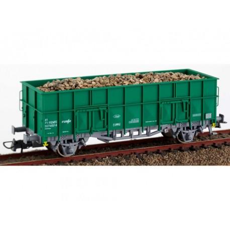 """Vagón abierto tipo """"X3"""" verde con carga, RENFE. KTRAIN 0701N"""