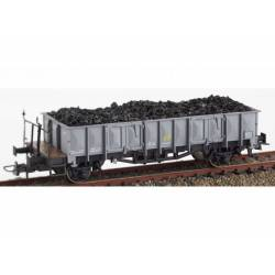 "RENFE open wagon ""X1"" with coal load."