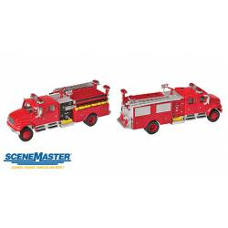 International 4900 crew cab fire engine. WALTHERS 949-11841