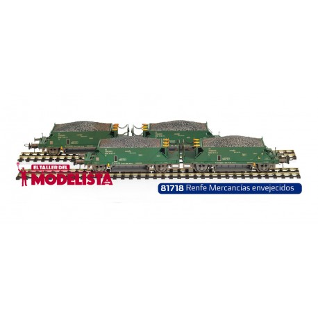 Set of 2 pair hopper wagons RENFE. W/ weathering. MABAR 81718