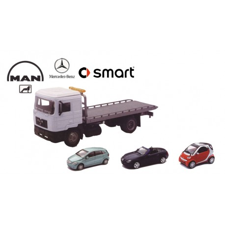 Man F2000 with cars. NEW RAY 15856