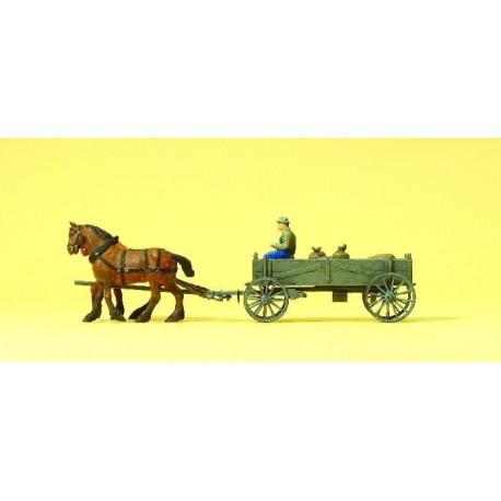 Horse drawn box wagon. PREISER 30411