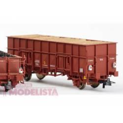 """Vagón abierto """"X3"""" rojo ox. con luz de cola, RENFE. KTRAIN 0701P"""