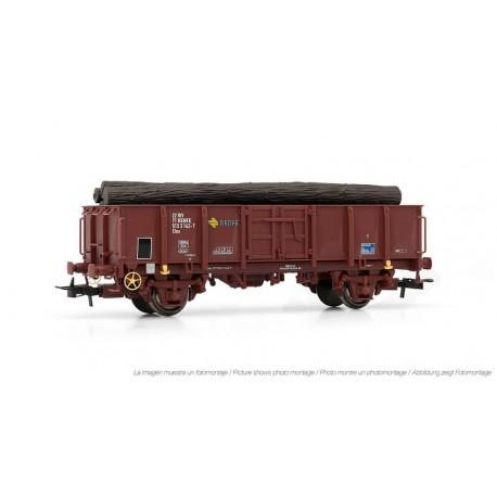 Vagón abierto RENFE, con carga de troncos. ELECTROTREN 1263