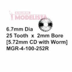 Engranaje metálico R/H, 6.7 mm. MARKITS MGR-4-100-252R