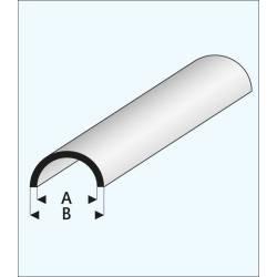Perfil media caña hueca de 8 mm.