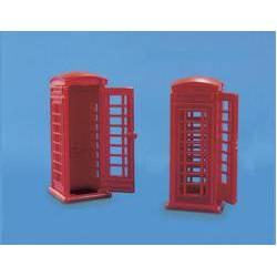 Telephone kiosks.