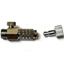 Quick connector with pressure regulator.