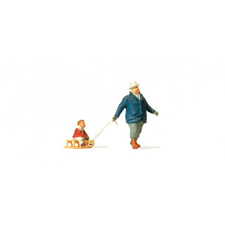 Man towing sledge with child. PREISER 28078