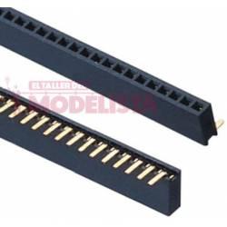 50-pin strip 1.27 mm round female header, 90º. ETM E004