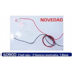 Led red and white, 1,8 mm. MABAR 60900