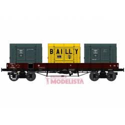 Vagón llano TP con contenedores, SNCF.