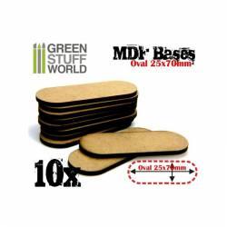 MDF Bases - Oval Pill, 25x70 mm (x10). GREEN STUFF WORLD 9133
