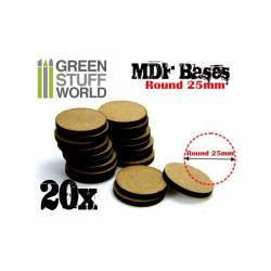 MDF Bases - round, 25 mm (x20). GREEN STUFF WORLD 9134