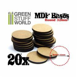MDF Bases - round, 32 mm (x20). GREEN STUFF WORLD 366347