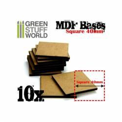 Peanas cuadradas, 40 mm (x10). GREEN STUFF WORLD 9144