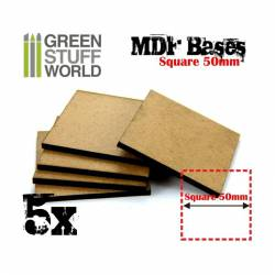 MDF Bases - square, 50 mm (x5). GREEN STUFF WORLD 9145