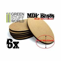 MDF Bases - Oval Pill, 90x52 mm (x6). GREEN STUFF WORLD 9199