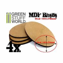 MDF Bases - Oval Pill, 105x70 mm (x4). GREEN STUFF WORLD 9220