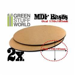 MDF Bases - Oval Pill, 170x105 mm (x2). GREEN STUFF 367214