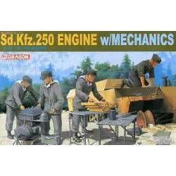 Sd.Kfz.250 engine with mechanics. DRAGON 6112