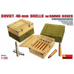 Soviet 45-mm shells w/ ammo boxes. MINIART 35073