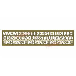 Cifras y letras de 5 mm, fotograbado. ETM 001