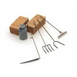 Farmer's tools: scythe, rake, pitchforks. ARTITEC 387.281